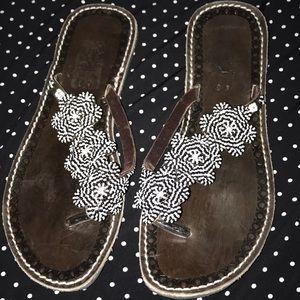 FP artisan Black white beaded leather sandals 40